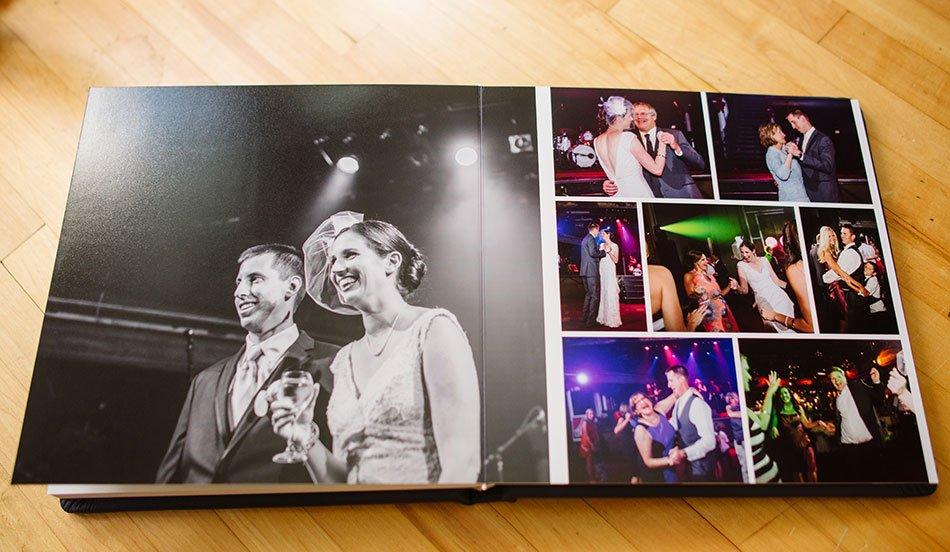 Navy Leather flush mount wedding album varsity theater