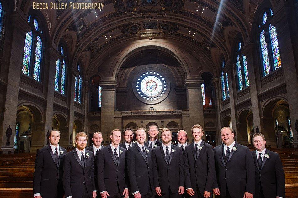 groomsmen inside basillica wedding minneapolis