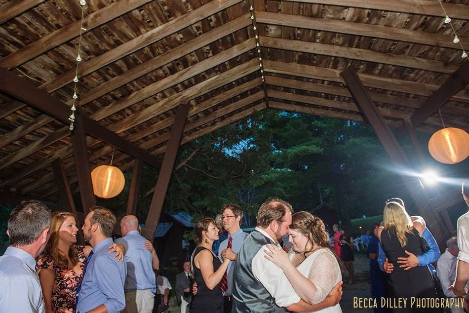 dancing under barn at hilltop in Spring Green WI