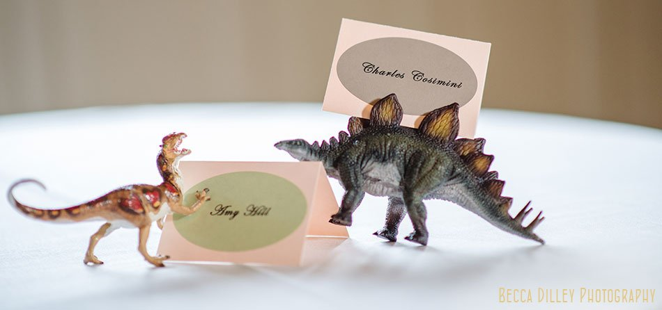 dinosaurs with place cards for Semple mansion wedding minneapolis mn