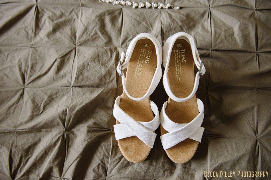 white sandals for brides summer wedding in minneapolis