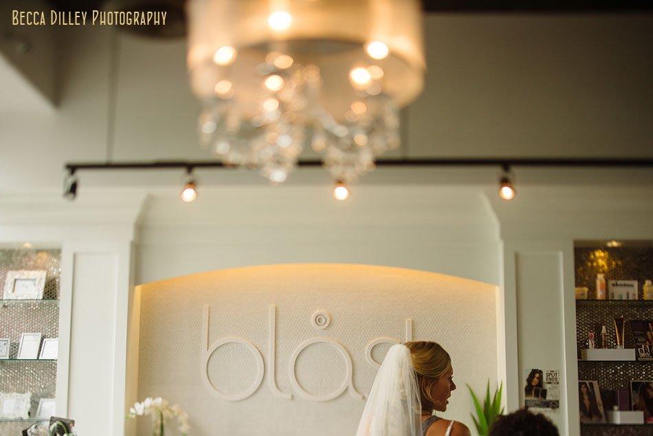 bride getting ready at blast salon