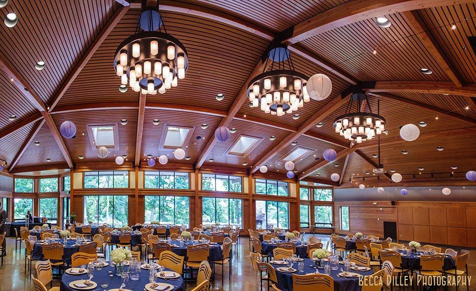 Interior of silverwood park main room set up for wedding