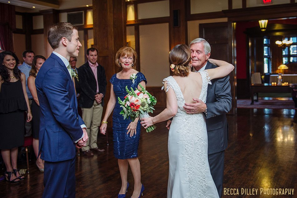 bride hugs father at minneapolis club wedding