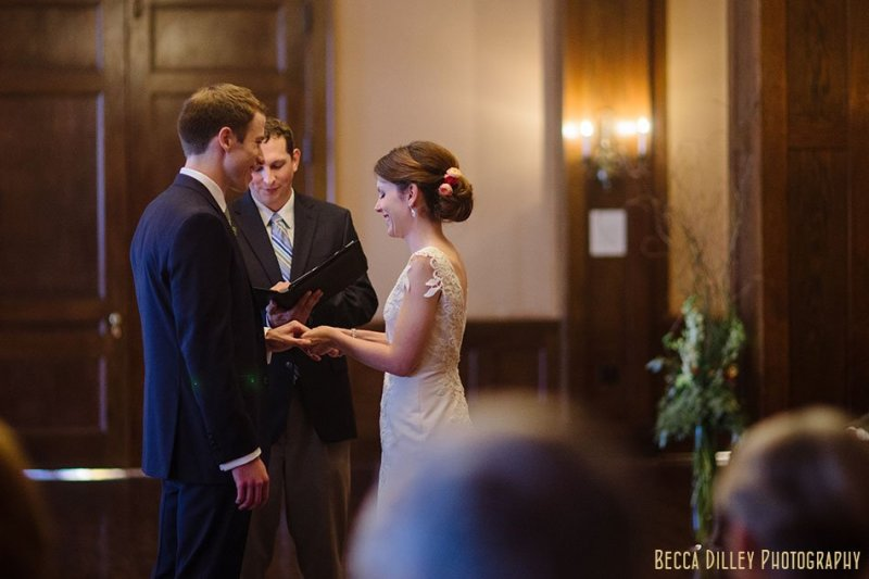 bride and groom during ceremony minneapolis club wedding