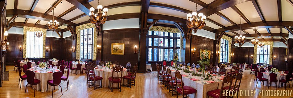 panorama of reception dinning room minneapolis club wedding