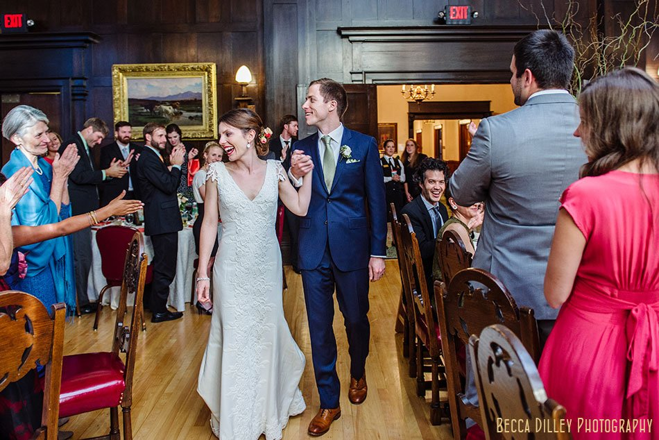 bride and groom enter dinning room minneapolis club wedding