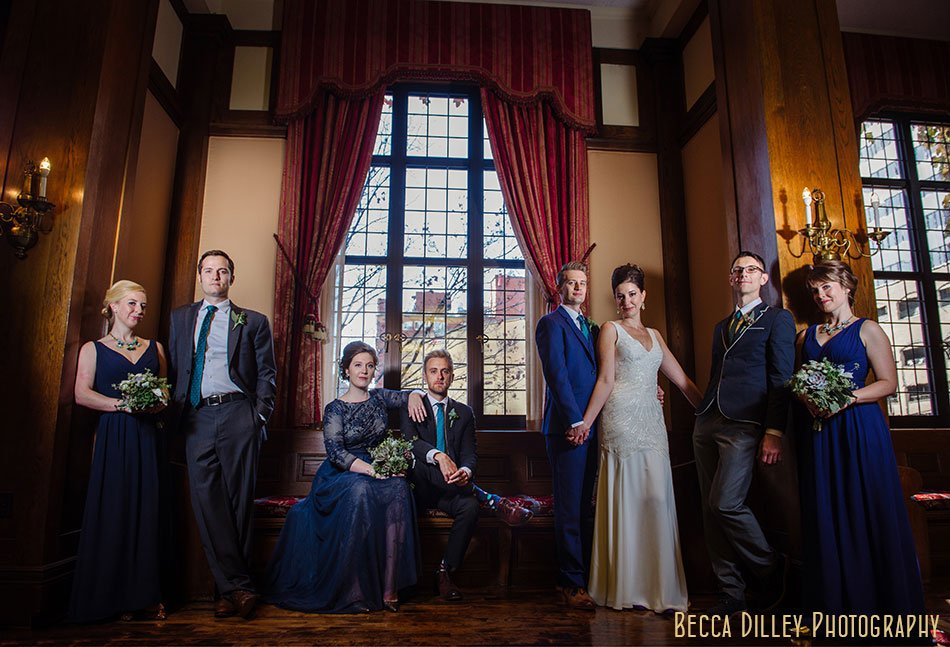 modern wedding party flash composite Minneapolis club wedding
