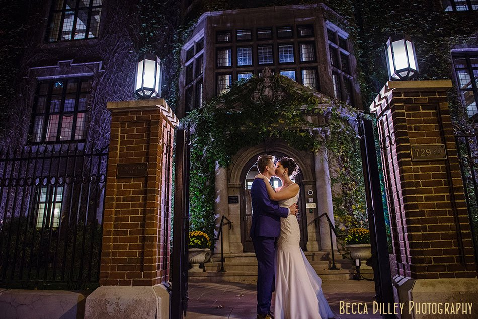 bride and groom at night outside Minneapolis club wedding