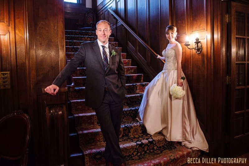 mad men style portrait of bride and groom minneapolis wedding at gale mansion