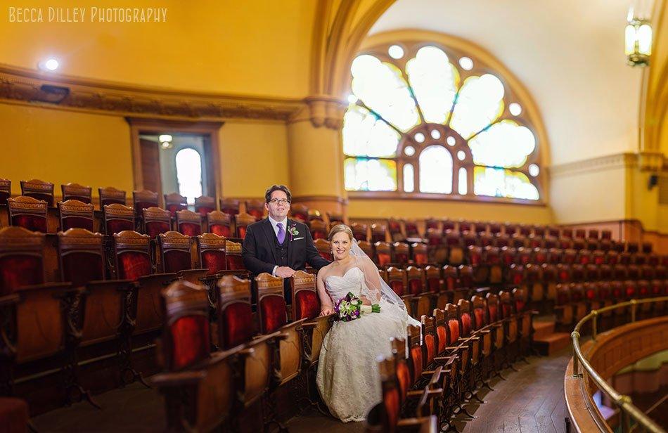 Central Presbyterian st paul wedding panorama of couple inside church