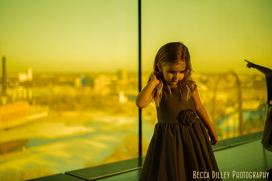 flowr girl in amber box of guthrie theater