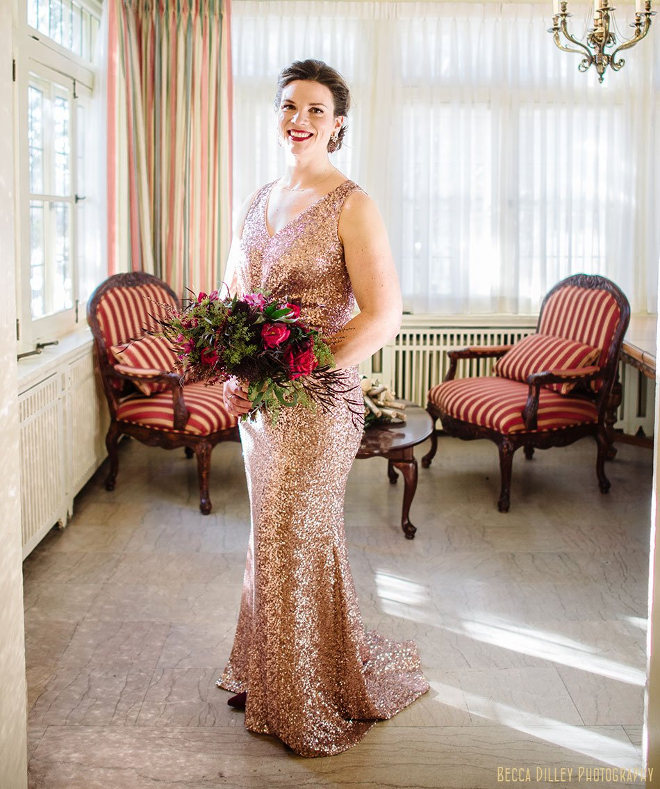 bride in rose gold sequined gown st paul college club winter wedding mn