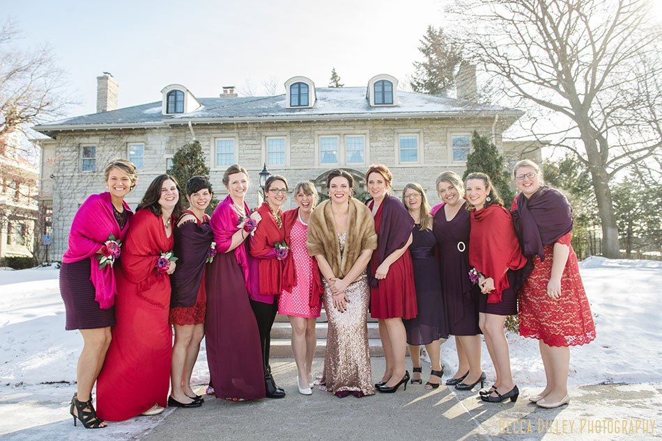bride with 10 bridesmaids st paul college club winter wedding mn
