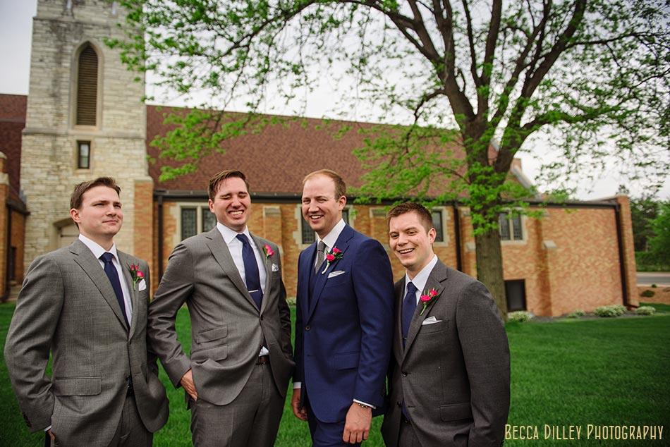 groomsmen laughing campus club of mn wedding