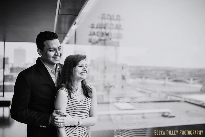 guthrie theater minneapolis wedding photographer engagement photos at stone arch bridge in winter