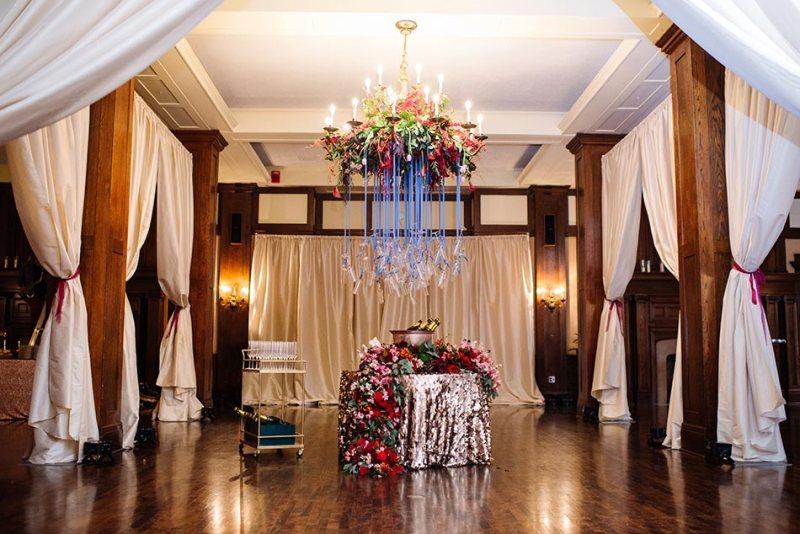 hanging champagne flutes lavish minneapolis club wedding