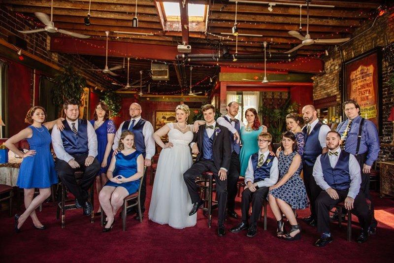 large wedding party varsity theater wedding minneapolis mn