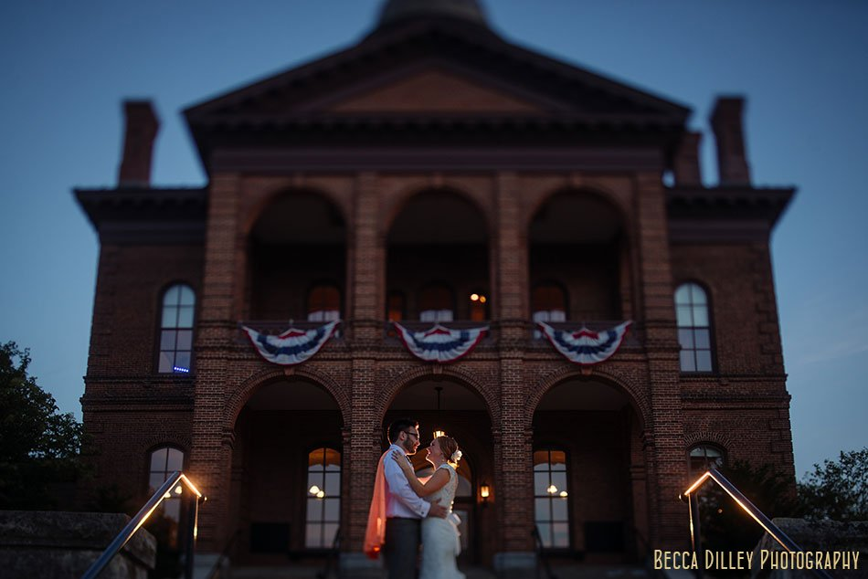 bride and groom at night Stillwater Historic Courthouse Wedding mn