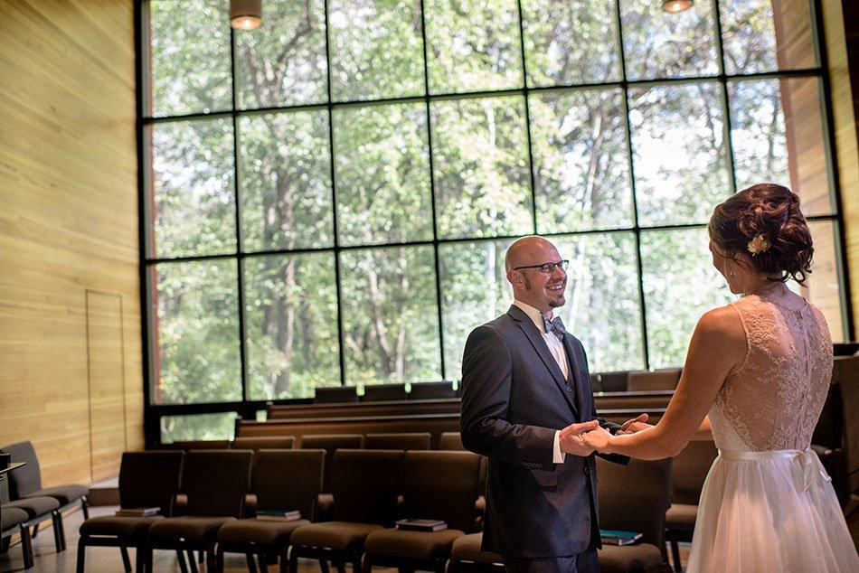 groom sees bride for first time White Bear Lake Backyard Wedding