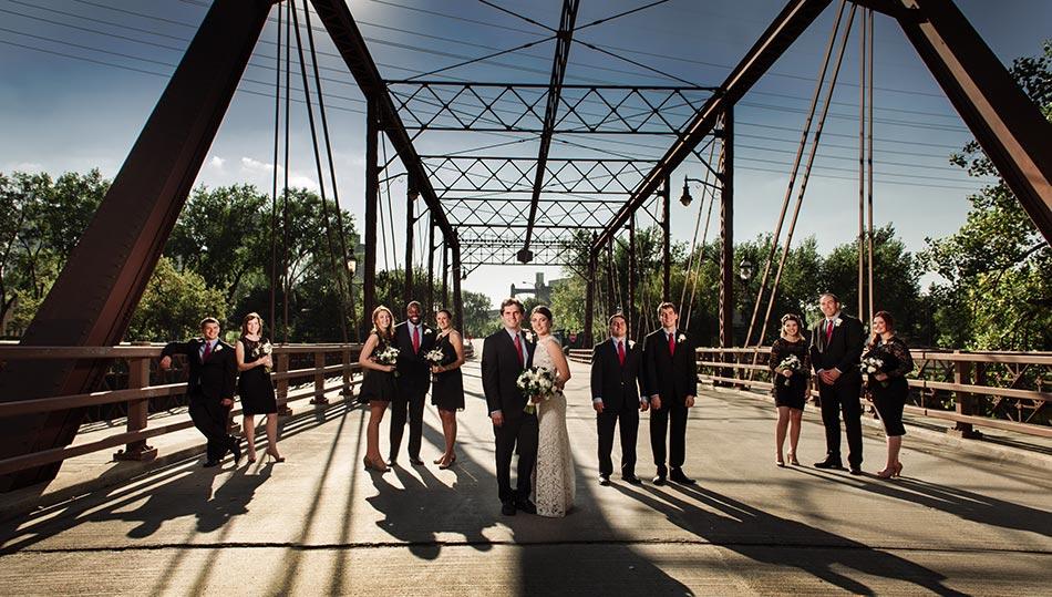 dramatic flash composite St Anthony Main wedding photos minneapolis