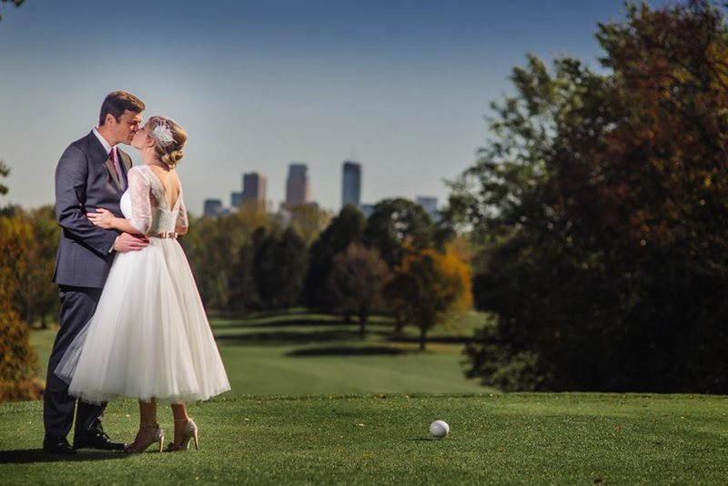 golf course with skyline Theodore Wirth Wedding Minneapolis