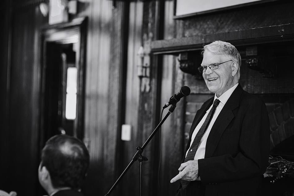 father of bride gives toast Theodore Wirth Wedding Minneapolis