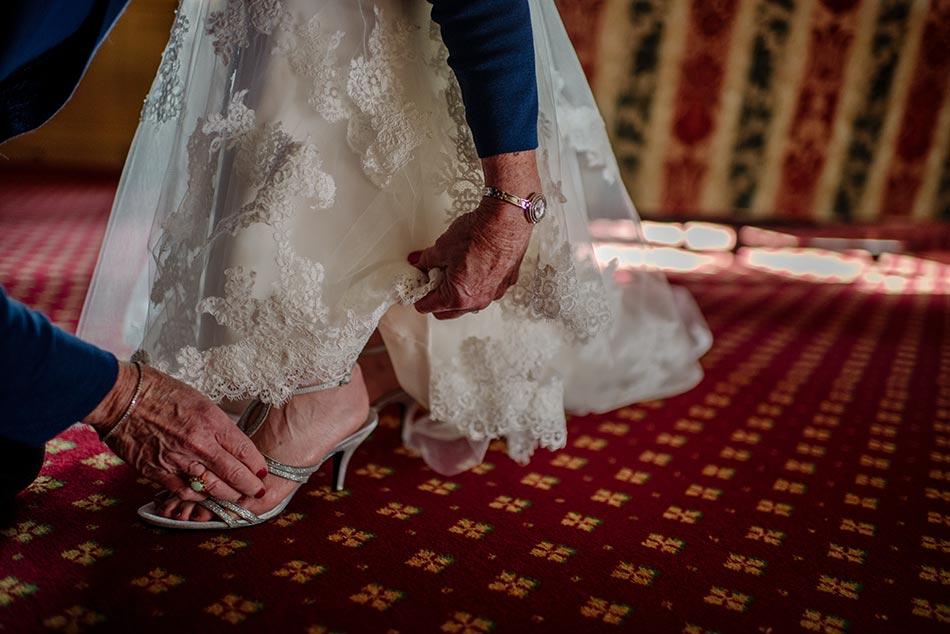 detail of brides shoes Wedding at Minneapolis Club