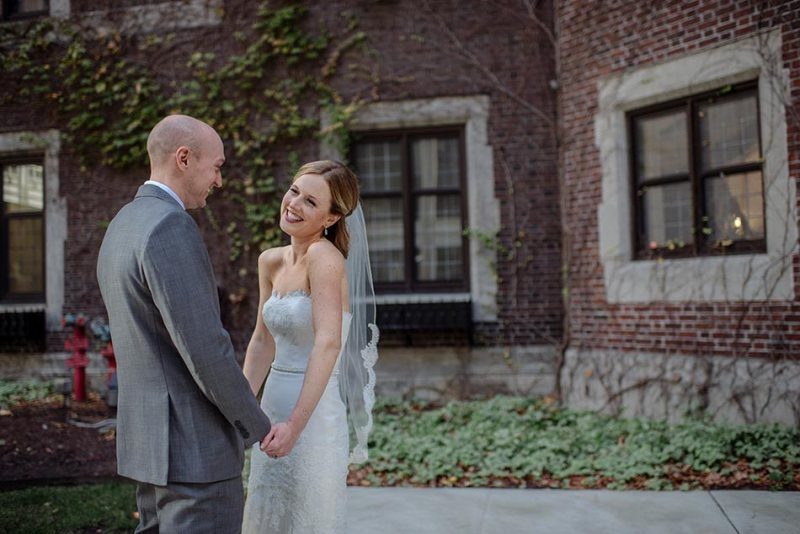 bride and groom first look Wedding at Minneapolis Club