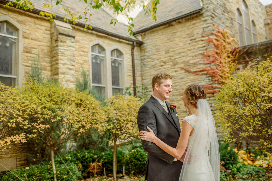 bride and groom first look St Lukes Episcopal church wedding minneapolis