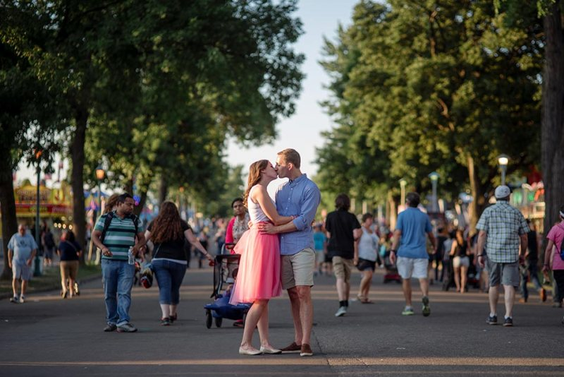 crowds Minnesota State Fair engagement photos