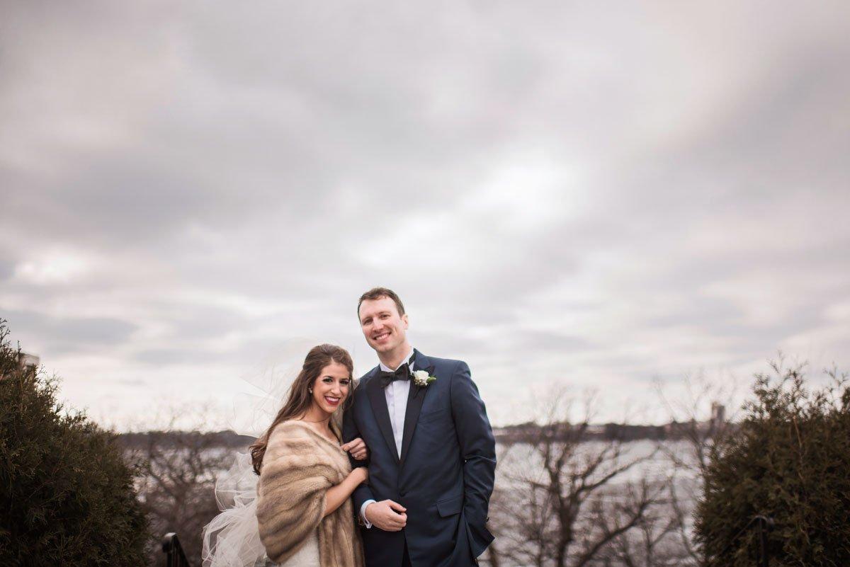 bride and groom outside winter minneapolis wedding