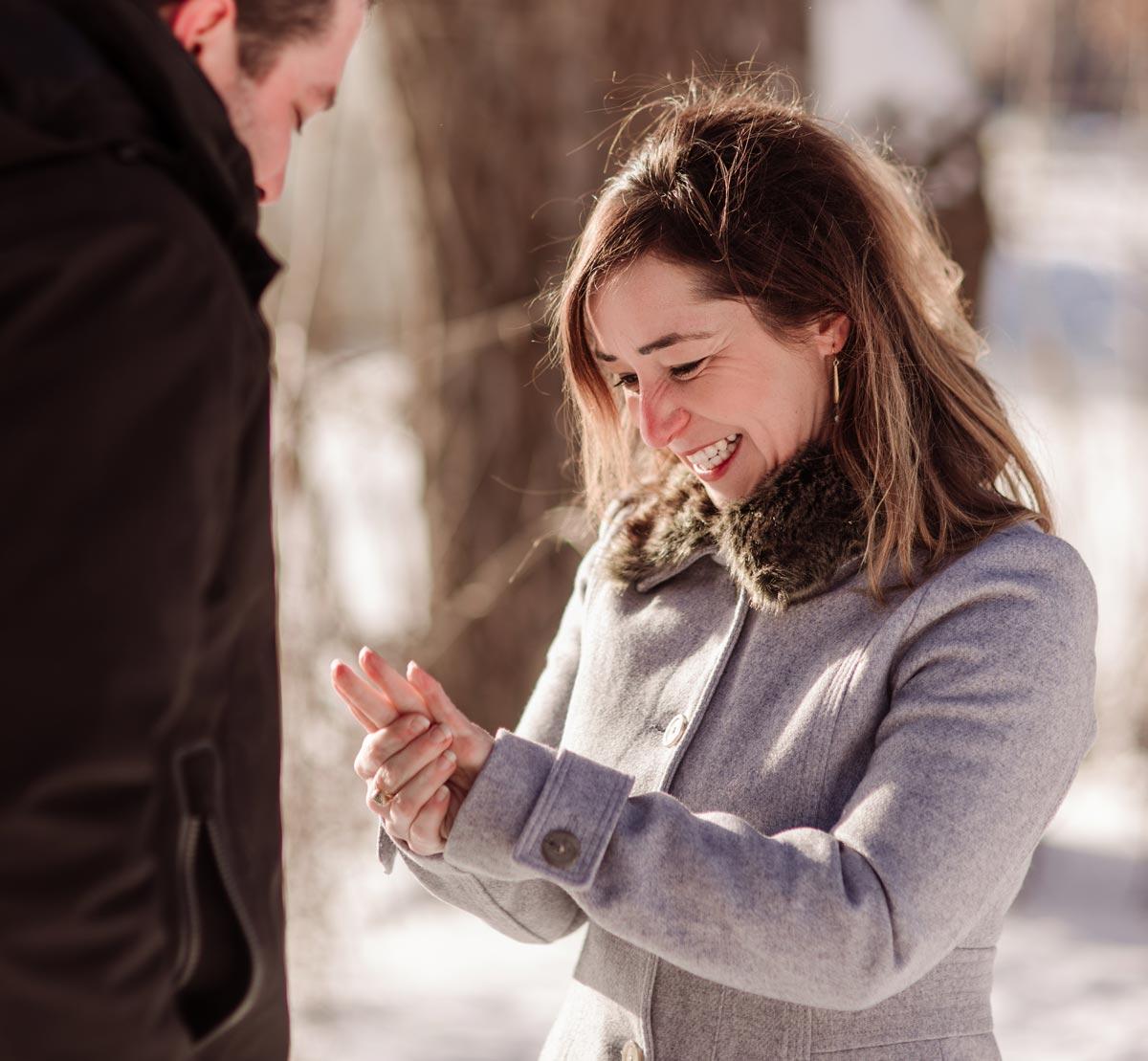 minneapolis wedding proposal in the snow