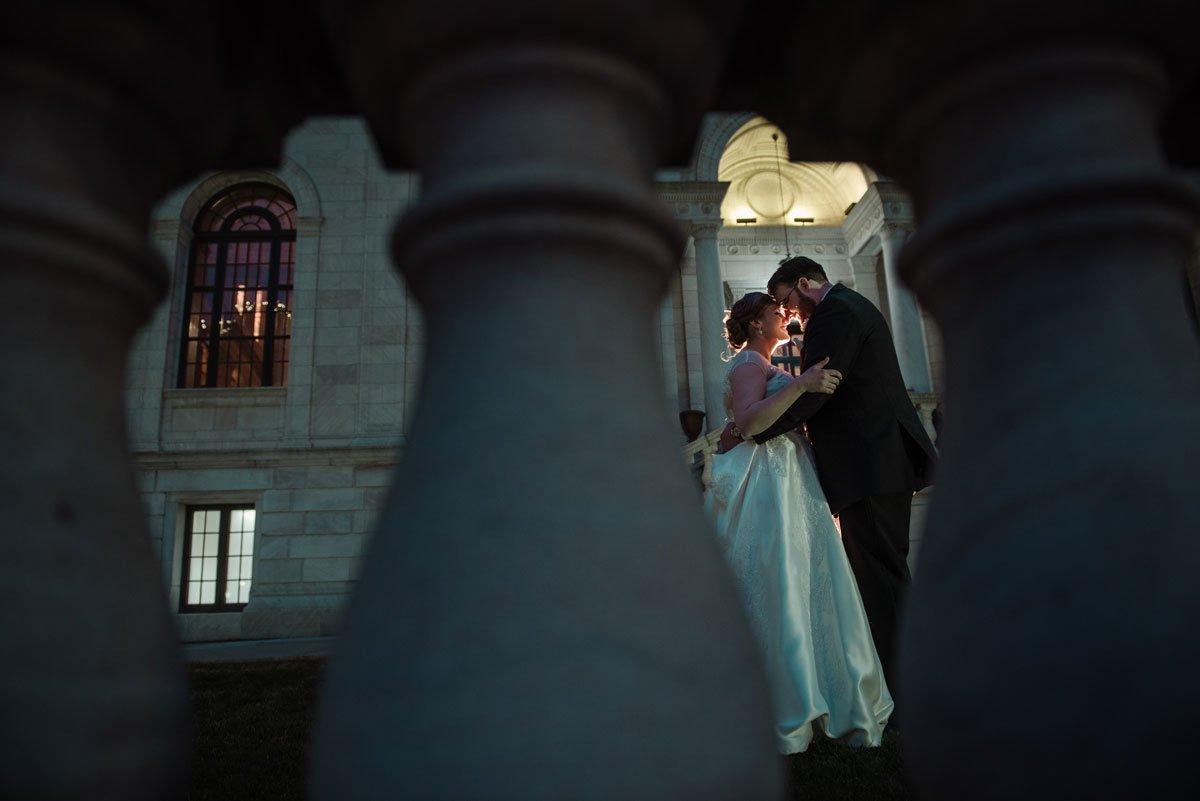 dramatic night portrait jj hill library wedding st paul photographer