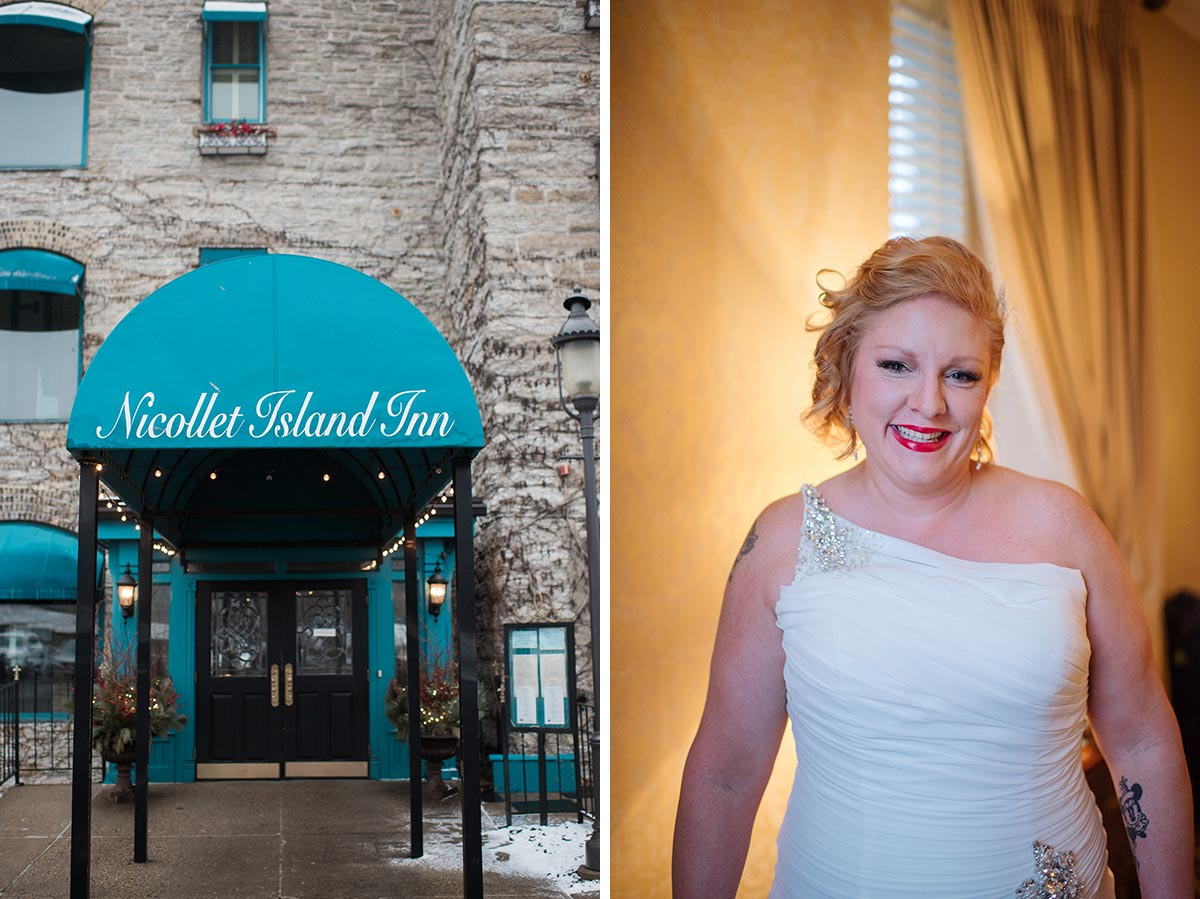 getting ready at nicollet island inn Minneapolis winter Aster Cafe Small Wedding