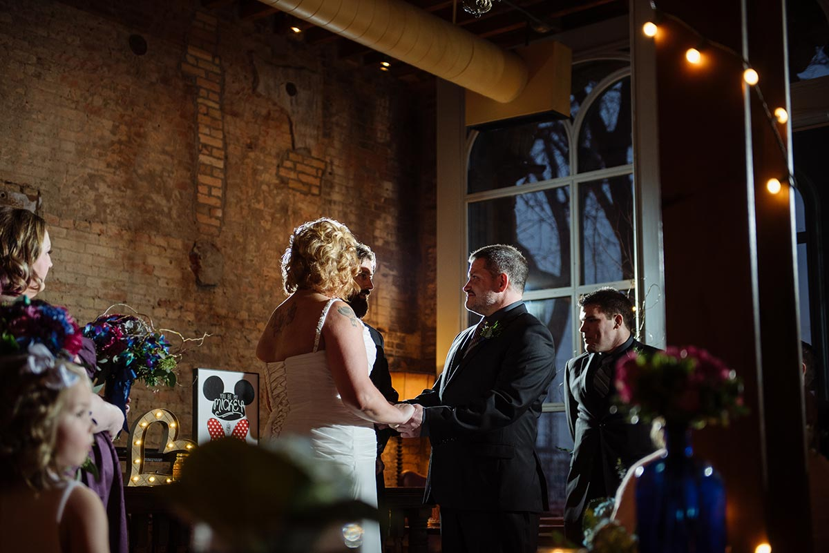 ceremony in river room Minneapolis winter Aster Cafe Small Wedding