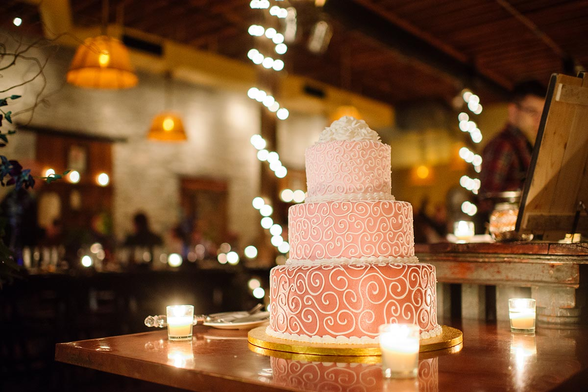 pink cake Minneapolis winter Aster Cafe Small Wedding
