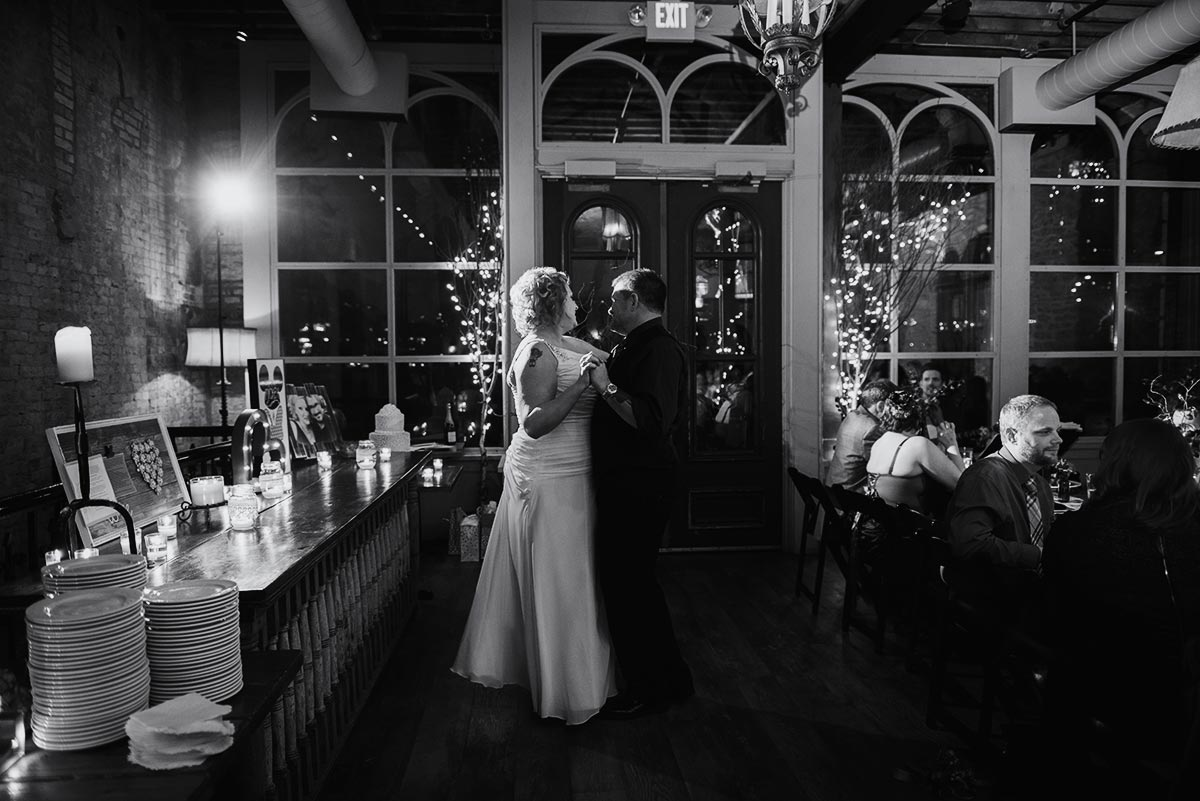 dancing Minneapolis winter Aster Cafe Small Wedding