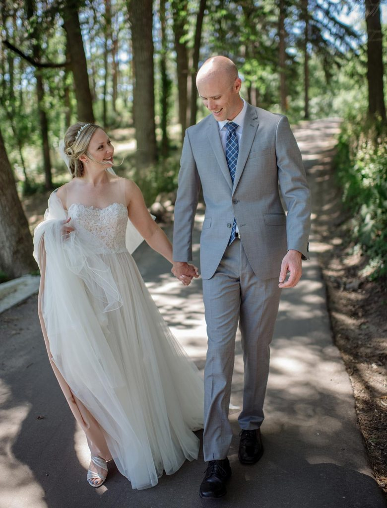 walking Outdoor Minneapolis Wedding