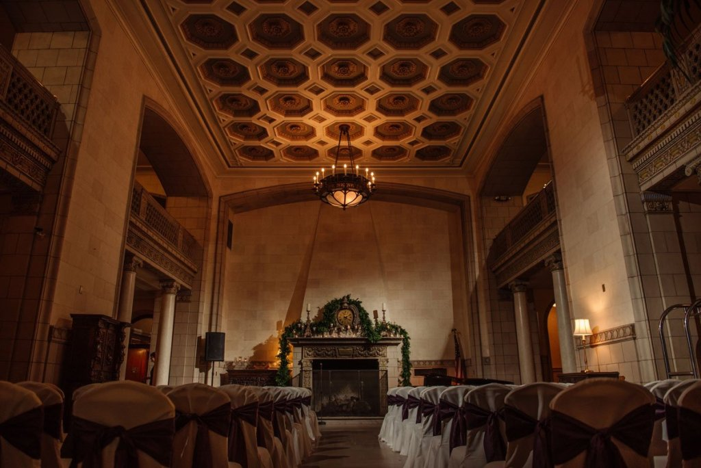 the ceremony space in the lobby of hotel 340, st paul athletic club wedding