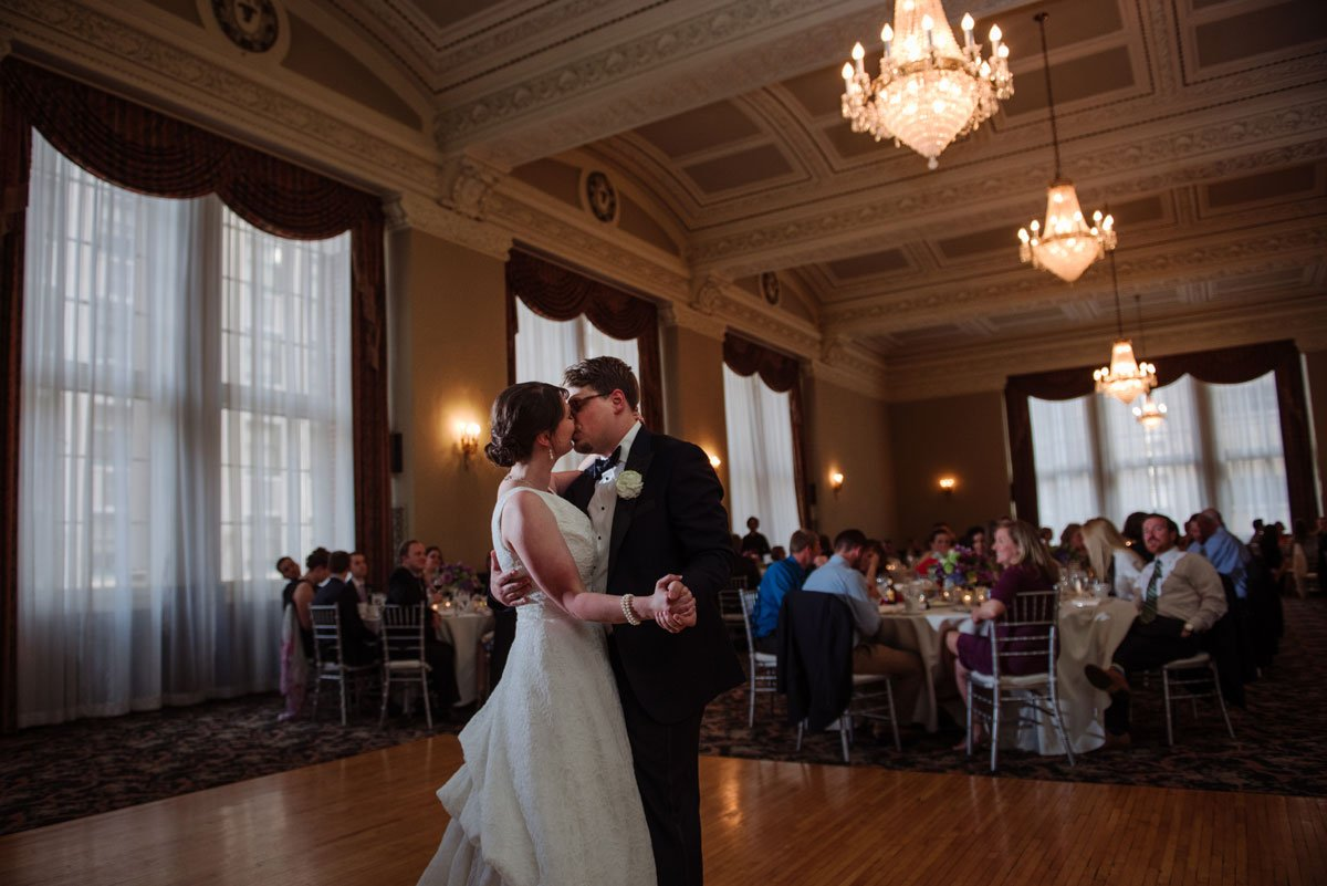 A first dance along with chandeliers at st paul athletic club wedding