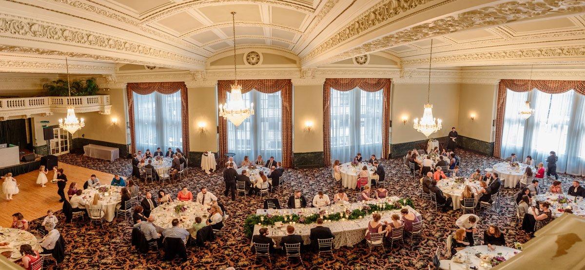 Panorama of st paul athletic club wedding in grand ballroom