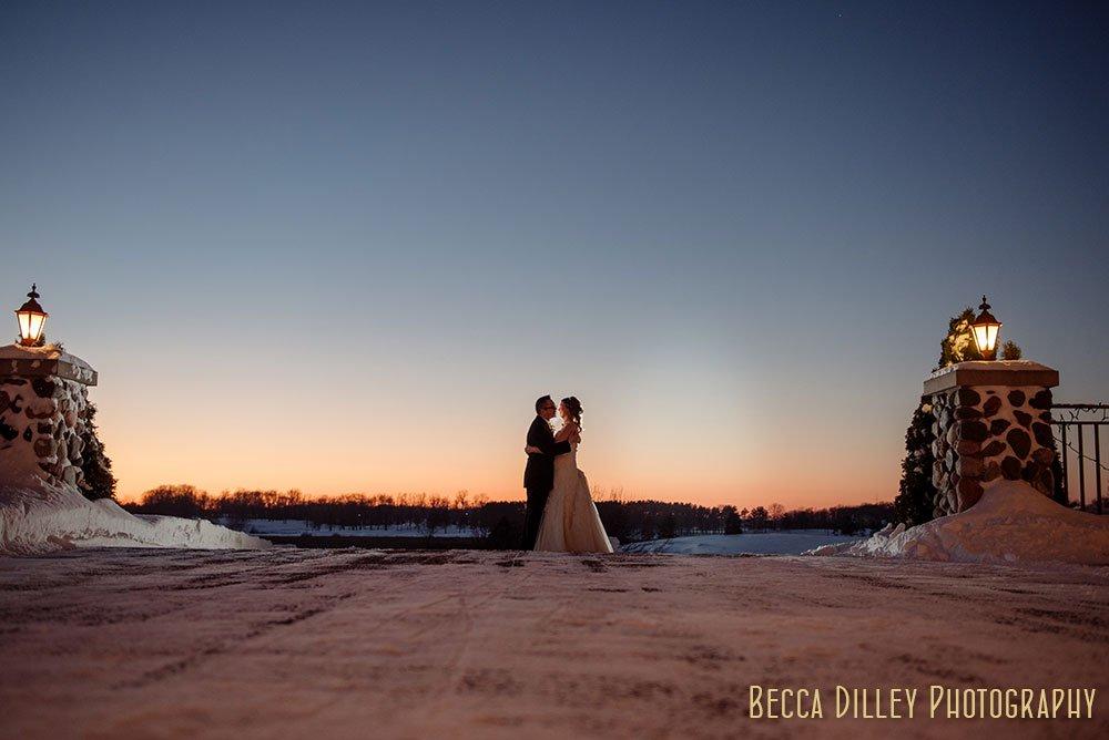 sunset Rush Creek Golf Club Winter Wedding MN