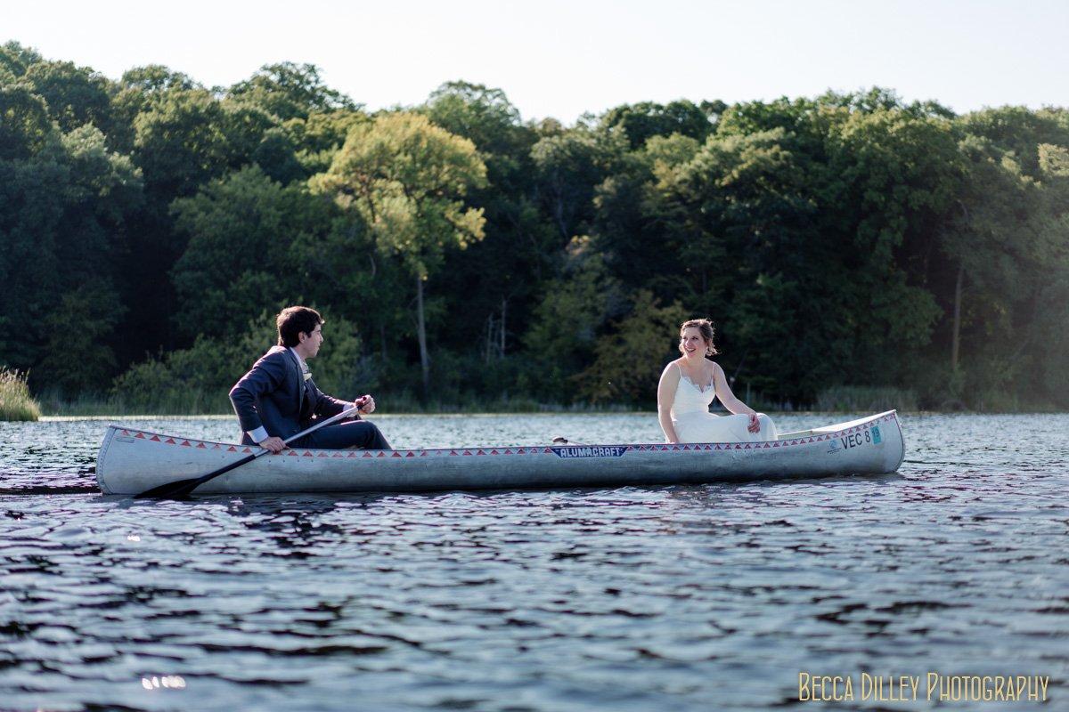 mn wedding on a canoe