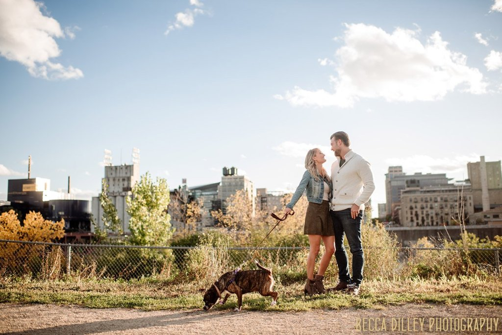 engagement photos minneapolis with puppy