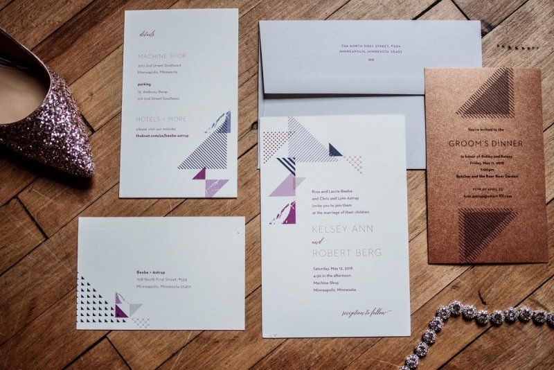 paper and other details for this Machine shop wedding