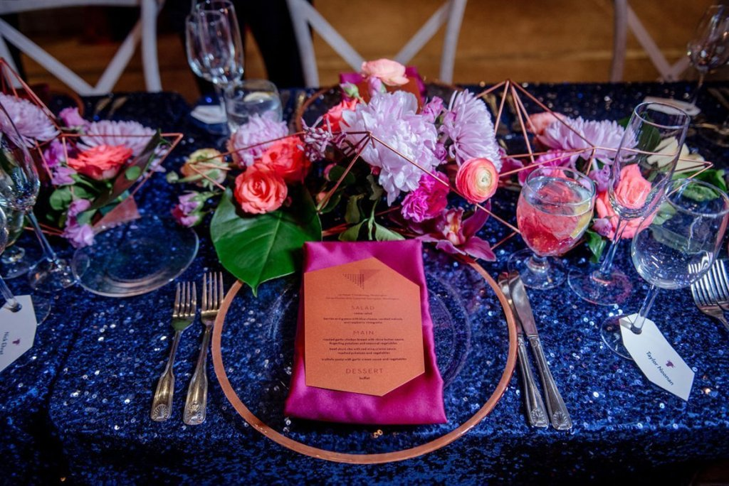 table settings at machine shop wedding venue