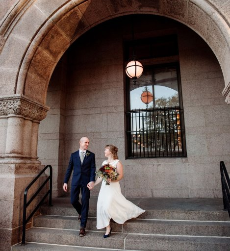 Photo of couple walking down stairs to accompany article - What is a reasonable price for wedding photography? tips for wedding photography budget