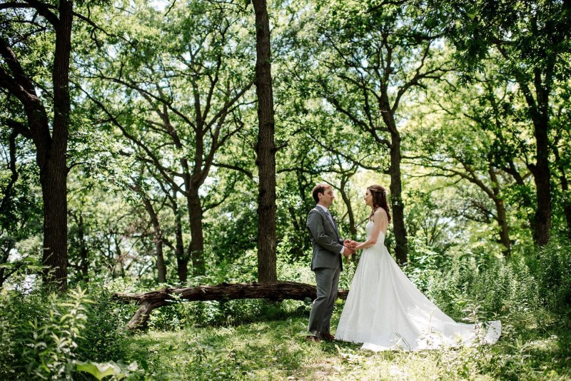 big trees and couple at silverwood park wedding mn