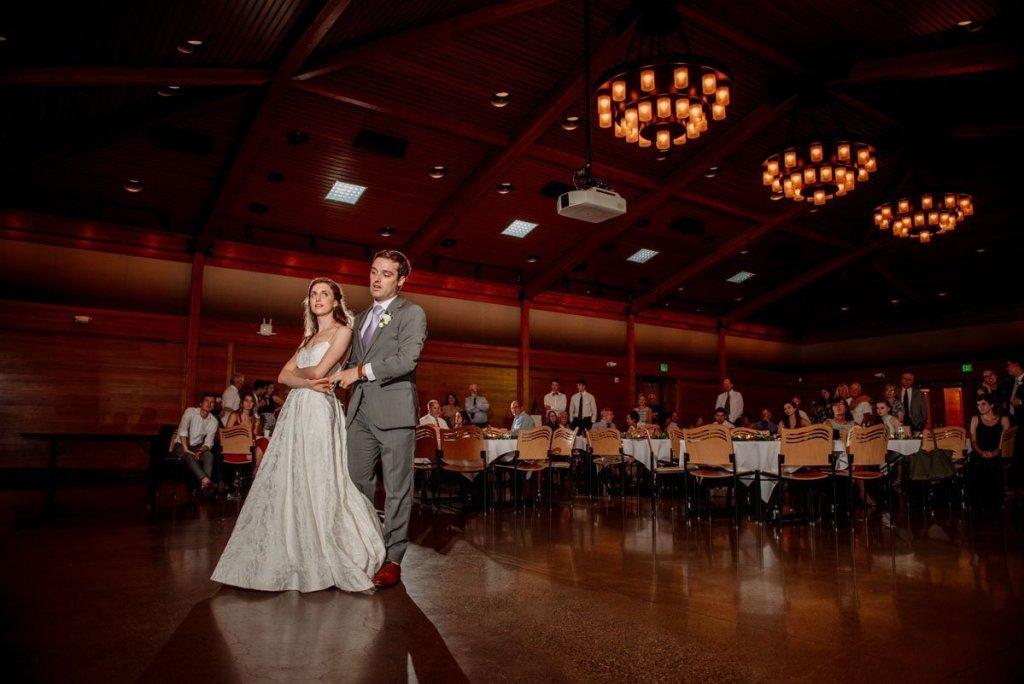 first dance under chandeliers silverwood park wedding mn
